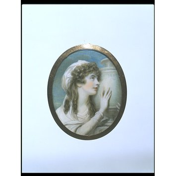Portrait miniature - Portrait of Margaret Cocks, mourning her sister's remains; formerly called Mary Russell mourning her mother's remains.