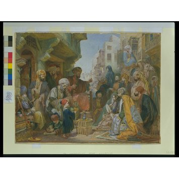 Watercolour - Scene in a Cairo Bazaar