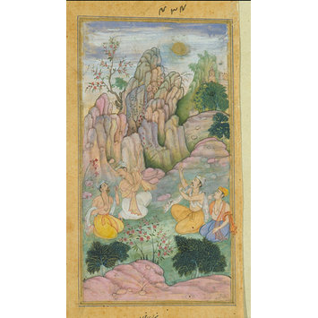 Painting - The sage Vyasa with disciples observes his son Sukya approaching them like a ball of fire