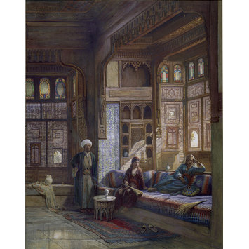Watercolour - A room in the house of Shayk Sadat, Cairo; Kaah in the Harem of Sheykh Sadat, Cairo