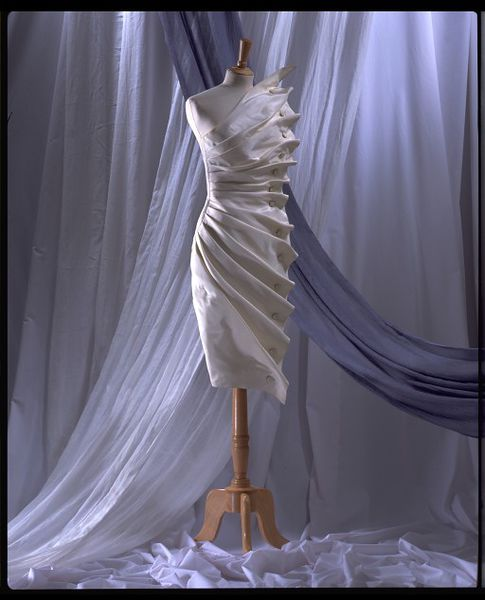 Bird's Wing, evening dress in white silk taffeta by Antony Price