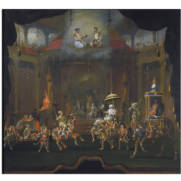 Oil painting - Parade of the Sons of Shah Jahan on Composite Horses and Elephants
