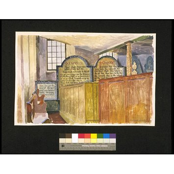 Watercolour - Pews in St Mary's Church, Whitby; Recording Britain