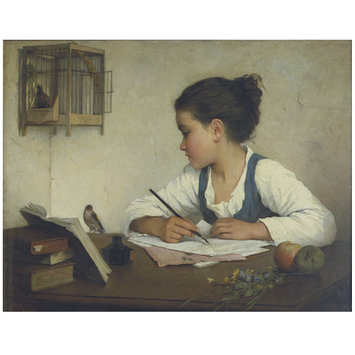 Oil painting - A Girl Writing; The Pet Goldfinch
