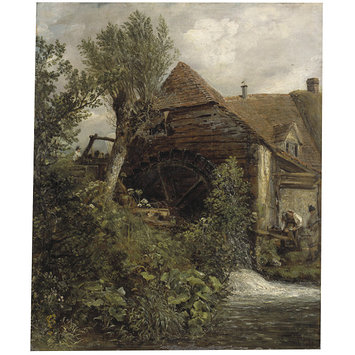 Oil painting - A Watermill at Gillingham, Dorset