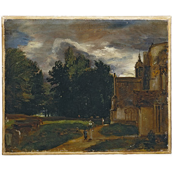 Oil painting - Porch of East Bergholt Church; East Bergholt Church and Churchyard