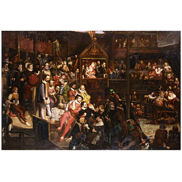 Painting - Queen Elizabeth Viewing the Performance of  The Merry Wives of Windsor at the Globe Theatre