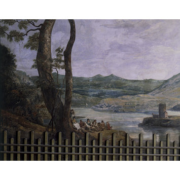 Fresco - Landscape with Castle (fresco from the Painted Dining Room, Drakelow Hall)