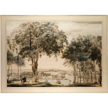 Watercolour - Purley Hall, Berkshire; Landscape with View of a Country Seat