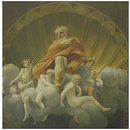 Joseph surrounded by angels, after Correggio's fresco in the cupola of Parma Cathedral (Tempera painting)
