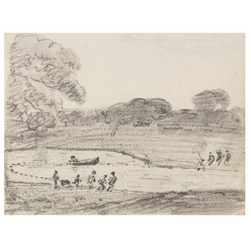 Drawing - Fishing with a net on the lake in Wivenhoe Park