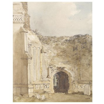 Watercolour - East Bergholt Church: north archway of the ruined tower
