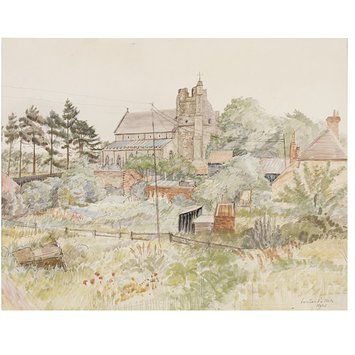 Watercolour - St. Bartholomew's Church, Orford, from the North-West; Recording Britain