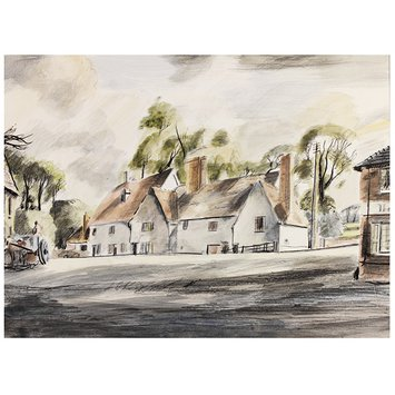 Watercolour - Old Houses, Ballingdon; Recording Britain