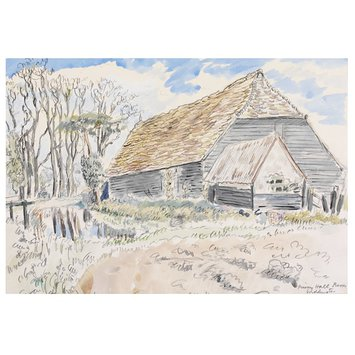 Watercolour - Prior's Hall Barn, Widdington; Recording Britain Collection