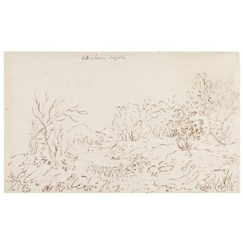 Drawing - Landscape with a stream at Wenham