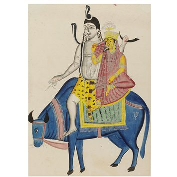 Painting - Shiva and Parvati on the bull Nandi