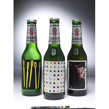 Label - Bottle of Becks Beer with label designed by Damien Hirst