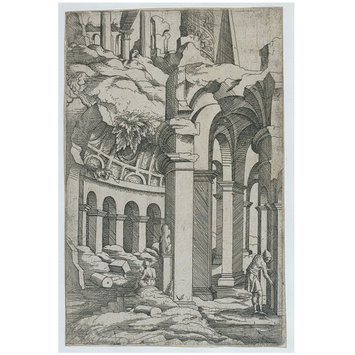 Print - Ruins with a seated draftsman; The little book of architecture ruins
