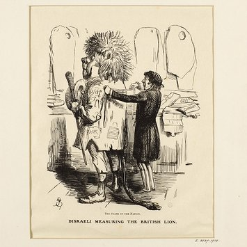 Engraving - Disraeli measuring the British Lion