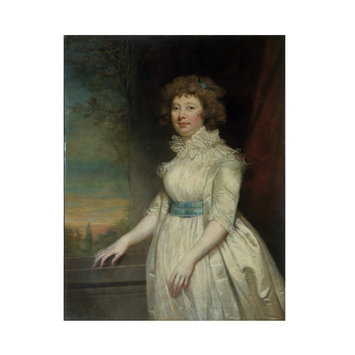 Oil painting - A Lady wearing a white dress