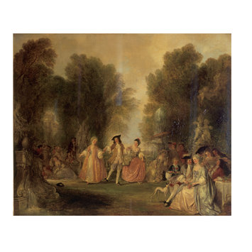 Oil painting - A Garden scene, in the manner of Watteau