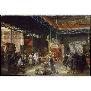 Oil painting - Queen Victoria, Prince Albert and three of their children at the Indian Pavilion of the Great Exhibition
