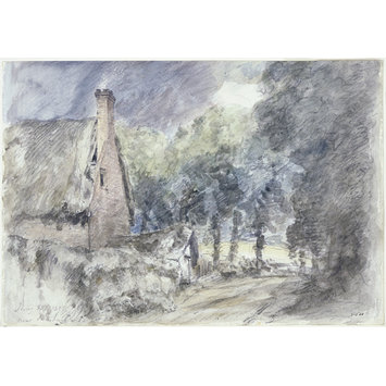 Watercolour - A cottage and Trees near Salisbury