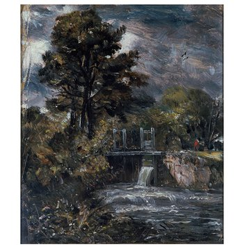 Oil painting - A Sluice, perhaps on the Stour