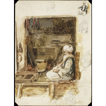 Watercolour - An old merchant in the Souk in Algiers; with figure studies