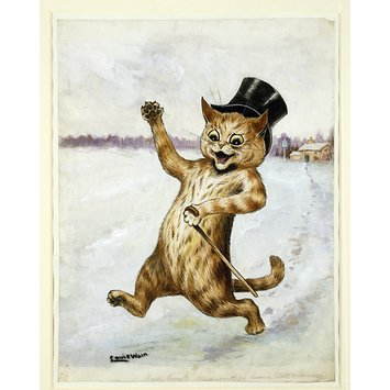 Louis Wain cat out on the razzle