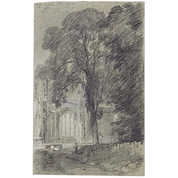 Drawing - East Bergholt Church: part of the west end seen beyond a group of elms