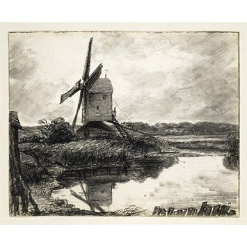 Drawing - A mill on the banks of the River Stour