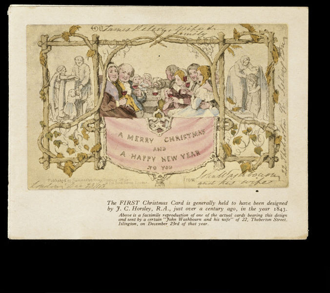 Reproduction of the first Christmas card, commissed by Sir Henry Cole, and designed by John Callcott Horsley