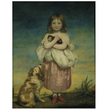 Oil painting - A Little girl nursing a kitten