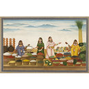 Four women selling food-grains, vegetables and fruit (Painting)