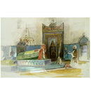 Interior of the Tomb of Sultan Mehmet I,  Bursa (Watercolour)