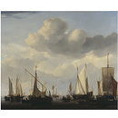 A Kaag, pont, states yacht and other vessesl under sail over a wide sea (Oil painting)