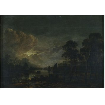 Oil painting - Moonlight Landscape with River