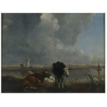 Oil painting - Landscape with cows drinking