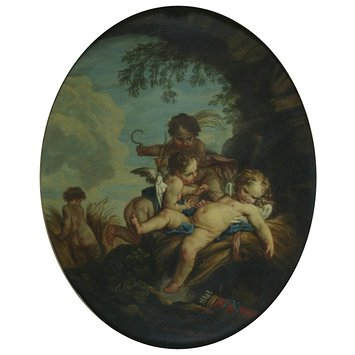 Oil painting - L'Amour Moissonneur; The Cherub Harvesters