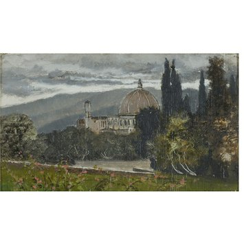 Oil painting - Florence, Boboli Gardens and Cathedral