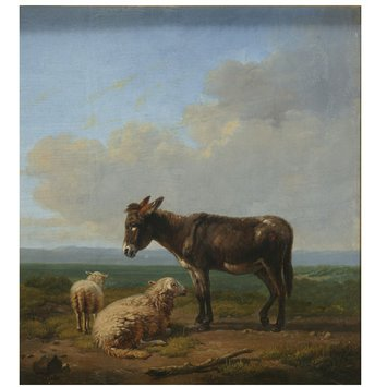 Oil painting - Donkey and sheep