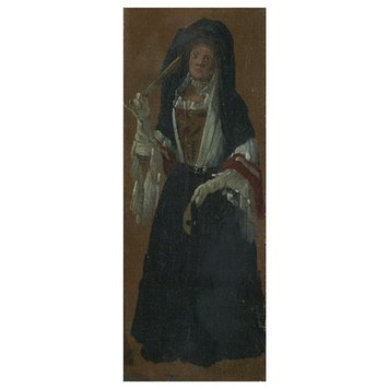 Oil painting - A Lady Holding a Fan and a Mask