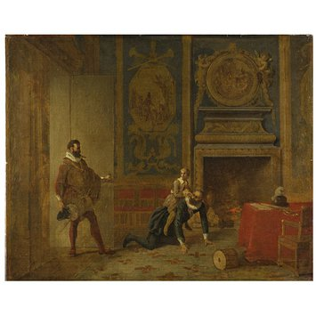 Oil painting - Henry IV, the Dauphin and the Spanish Ambassador
