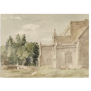 Watercolour - East Bergholt Church: view from the east