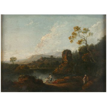 Oil painting - Landscape with River and Ruins