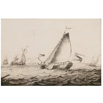 Oil painting - Yachts Sailing in a Breeze