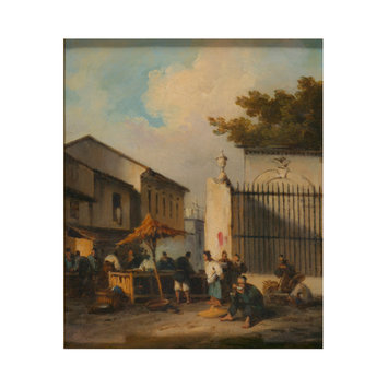 Oil painting - Chinese street scene with figures