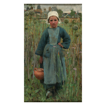 Oil painting - Peasant Girl Carrying a Jar, Quimperl
